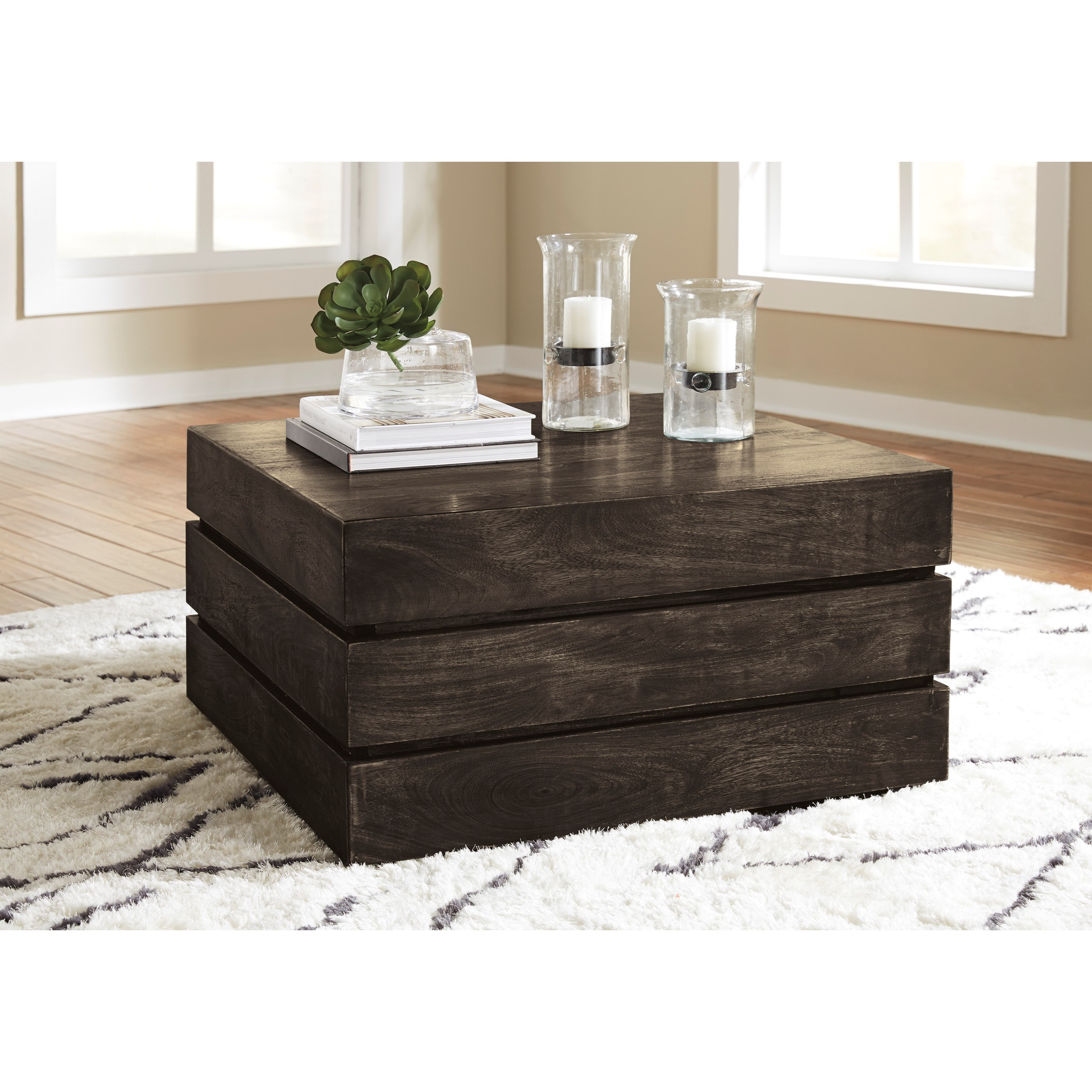 Signature Design By Ashley Shallia Solid Wood Square Cocktail Table With Sliding Table Top