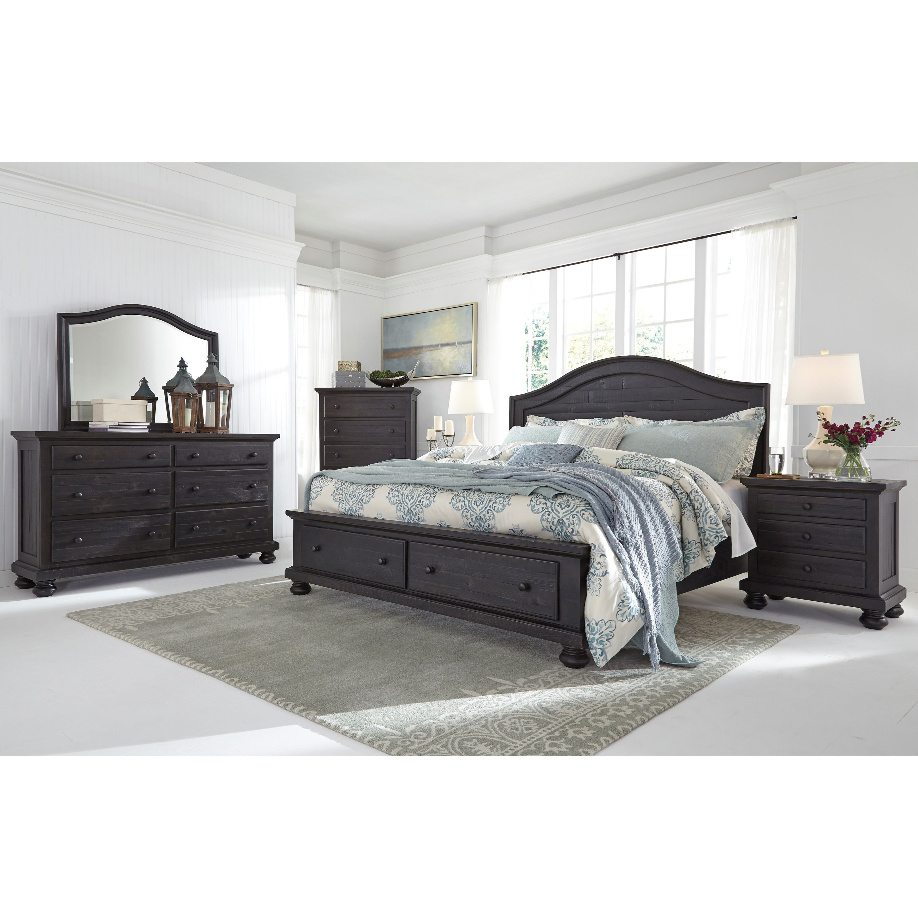 Signature Design By Ashley Sharlowe Solid Wood Queen Storage Bed With 2 Footboard Drawers