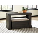 Signature Design by Ashley Sharlowe Distressed Solid Pine Sofa Table w/ Ottoman