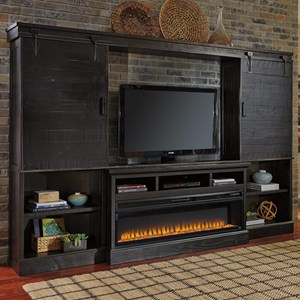 Ashley Signature Design Sharlowe Large TV Stand w/ Fireplace, Bridge & Piers