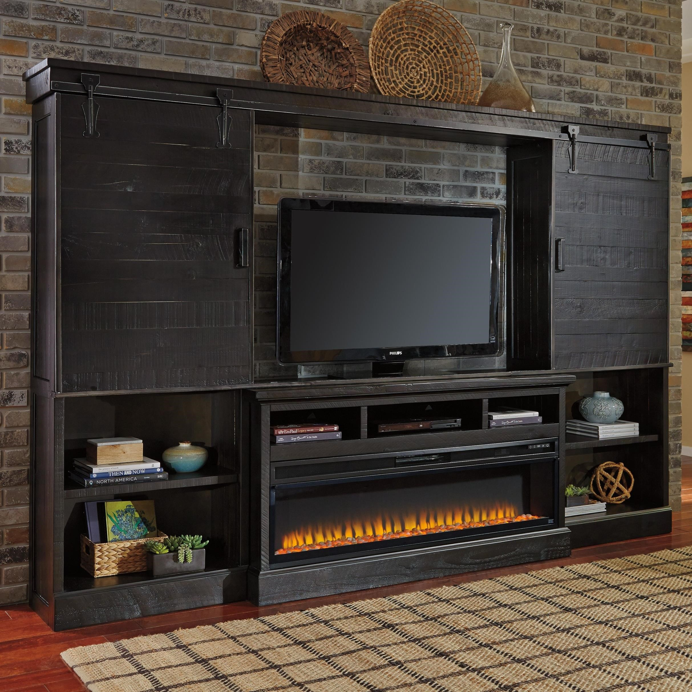 signature design by ashley sharlowe dark finish wall unit w