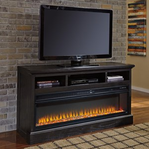 Signature Design by Ashley Sharlowe Large TV Stand with Wide Fireplace Insert