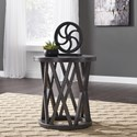 Signature Design by Ashley Sharzane Round End Table with Distressed Finish