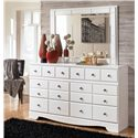 Signature Design by Ashley Weeki 6 Drawer Dresser and Mirror Set - Item Number: B270-31+36