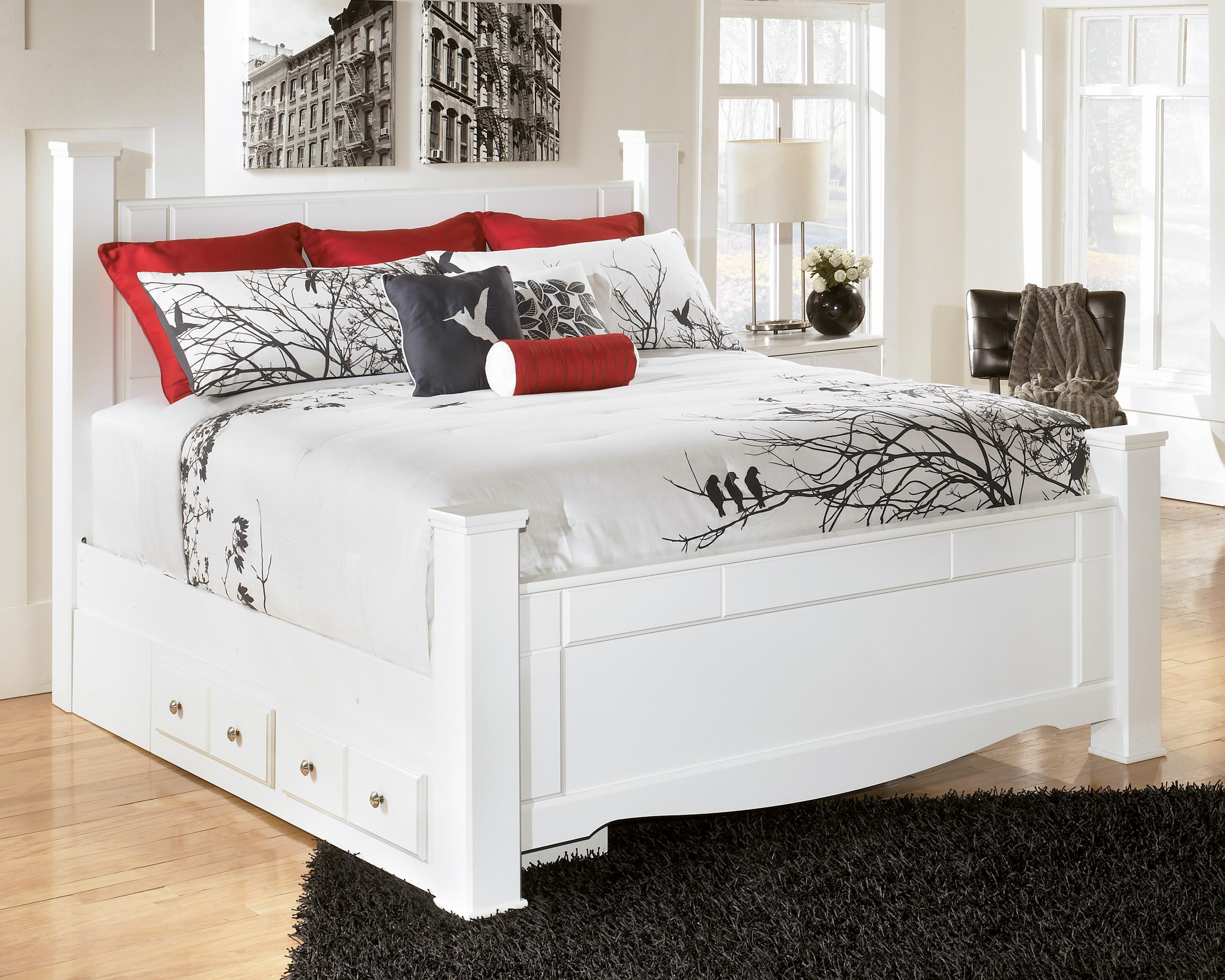 Signature Design by Ashley Weeki King Poster Bed with Underbed Storage - Item Number: B270-68+61+66+99+50