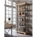 Signature Design by Ashley Shennifin Industrial Large Bookcase with Distressed Pine Veneer Shelves and Molding