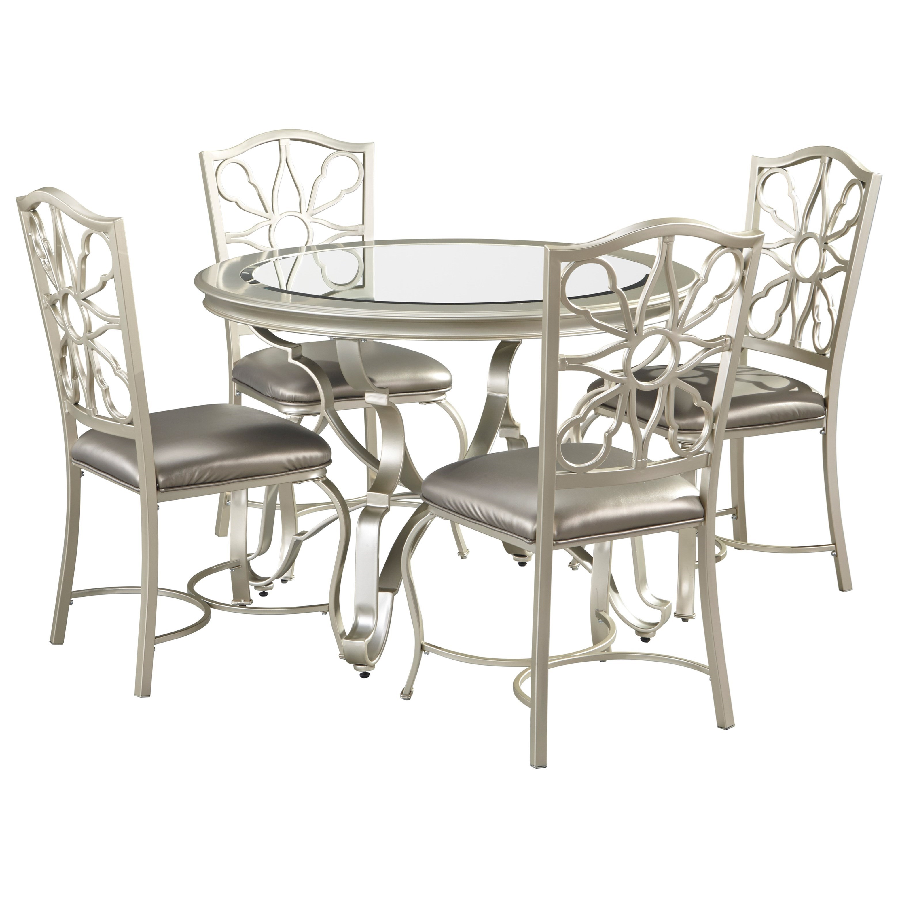 Signature Design By Ashley Shollyn 5 Piece Dining Table Set In Silver Finish Value City