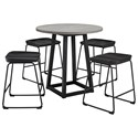 Signature Design by Ashley Showdell 5-Piece Counter Height Dining Table Set - Item Number: D205-13+4x124