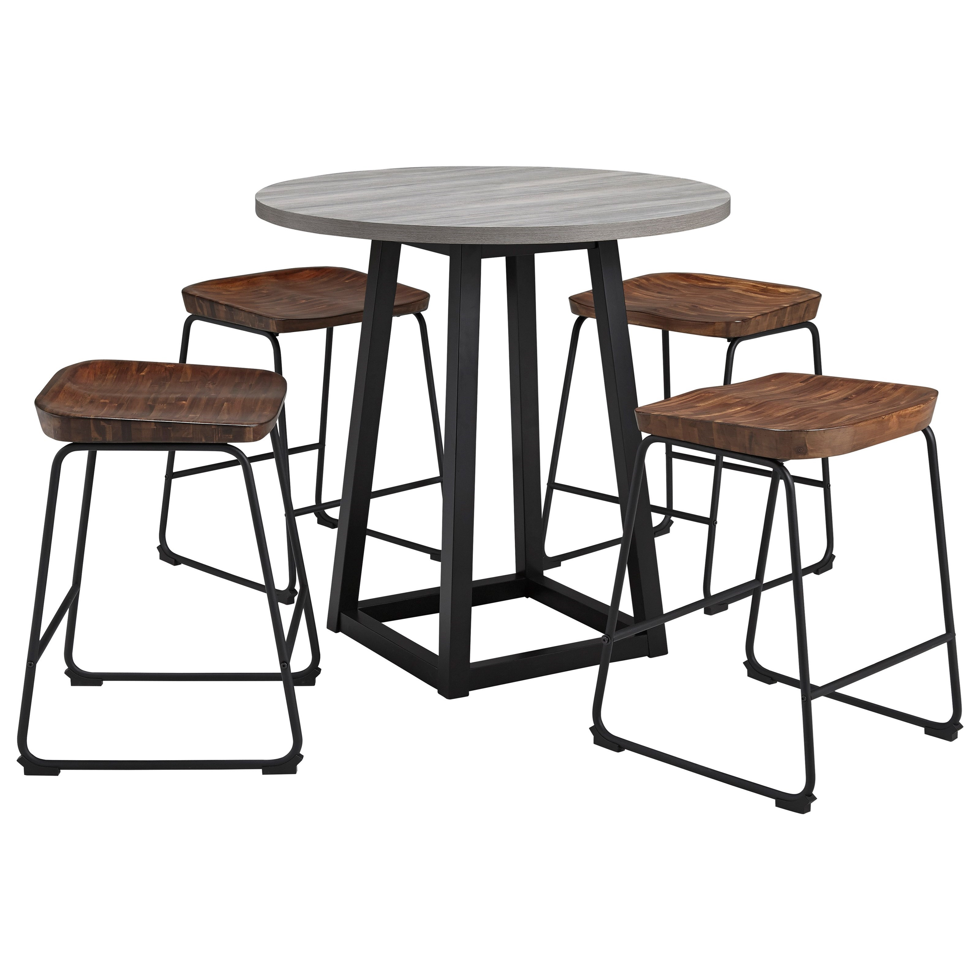 Picture of: Ashley Furniture Signature Design Showdell 5 Piece Counter Height Dining Table Set Del Sol Furniture Pub Table And Stool Sets