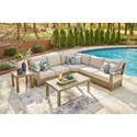 Signature Design by Ashley Silo Point Outdoor Sectional Set with Tables - Item Number: P804-854+877+701+702