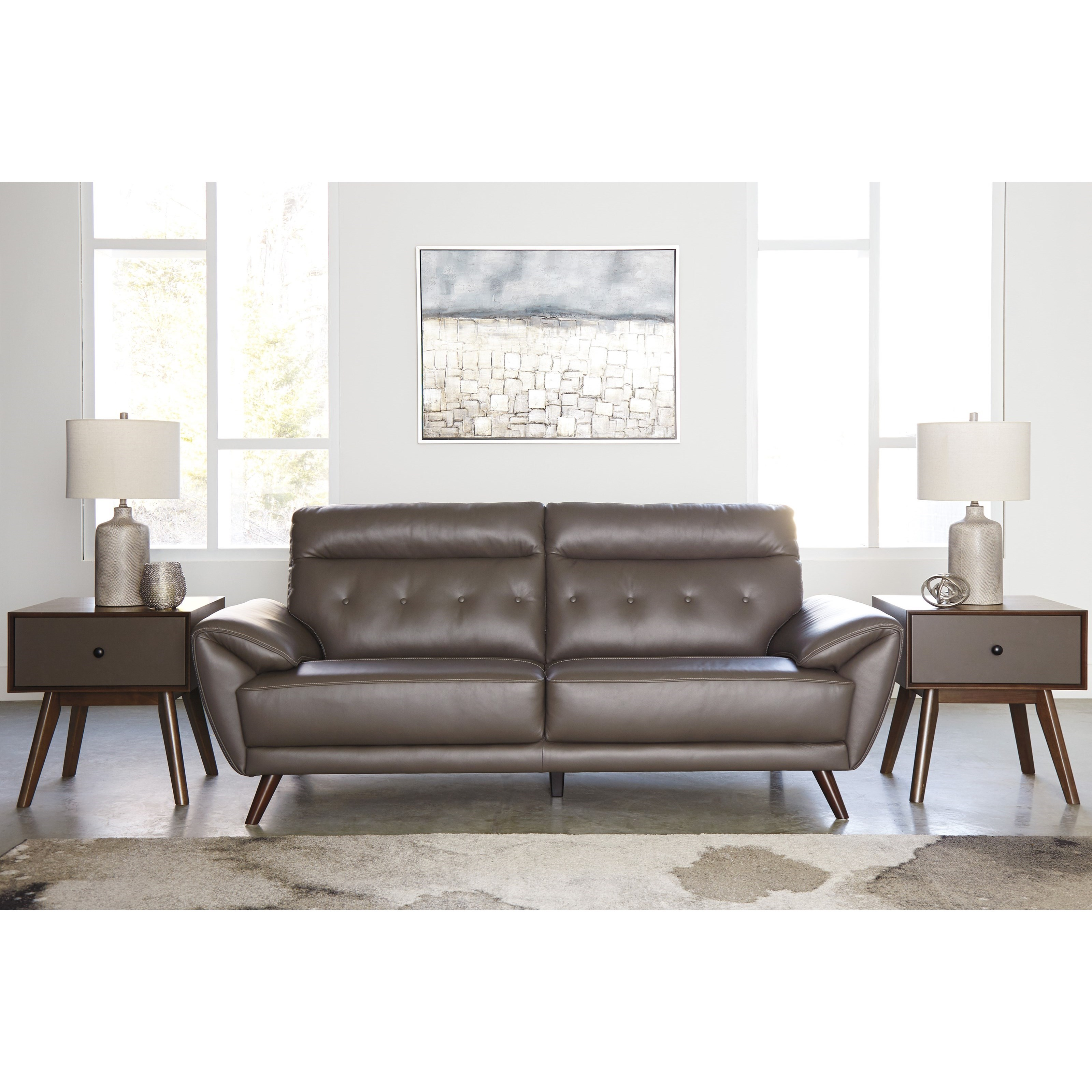 Salvatore Contemporary Leather Match Sofa With Tufted Back
