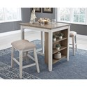 Signature Design by Ashley Skempton 3-Piece Rectangular Counter Table Set with Storage
