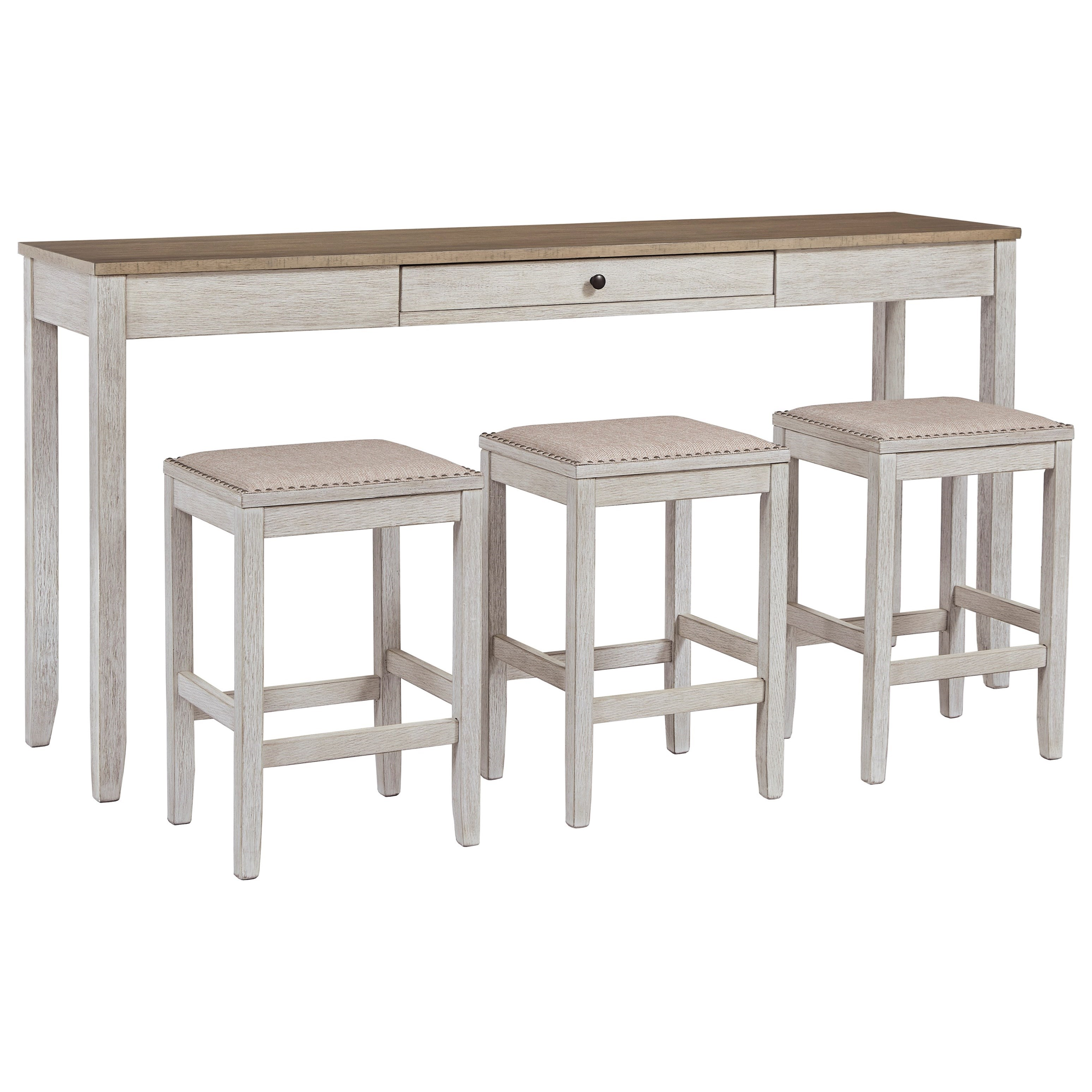 Signature Design By Ashley Skempton Two Tone 4 Piece Rect Dining Room Counter Table Set With Drawer Royal Furniture Pub Table And Stool Sets