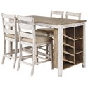 Signature Design by Ashley Skempton 5-Piece Rectangular Counter Table Set - Item Number: D394-32+4x124