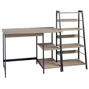 2-Piece Home Office Desk and Shelf Set