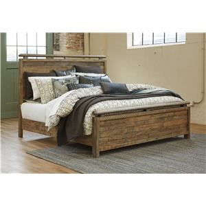 Queen Panel Bed with Storage Footboard