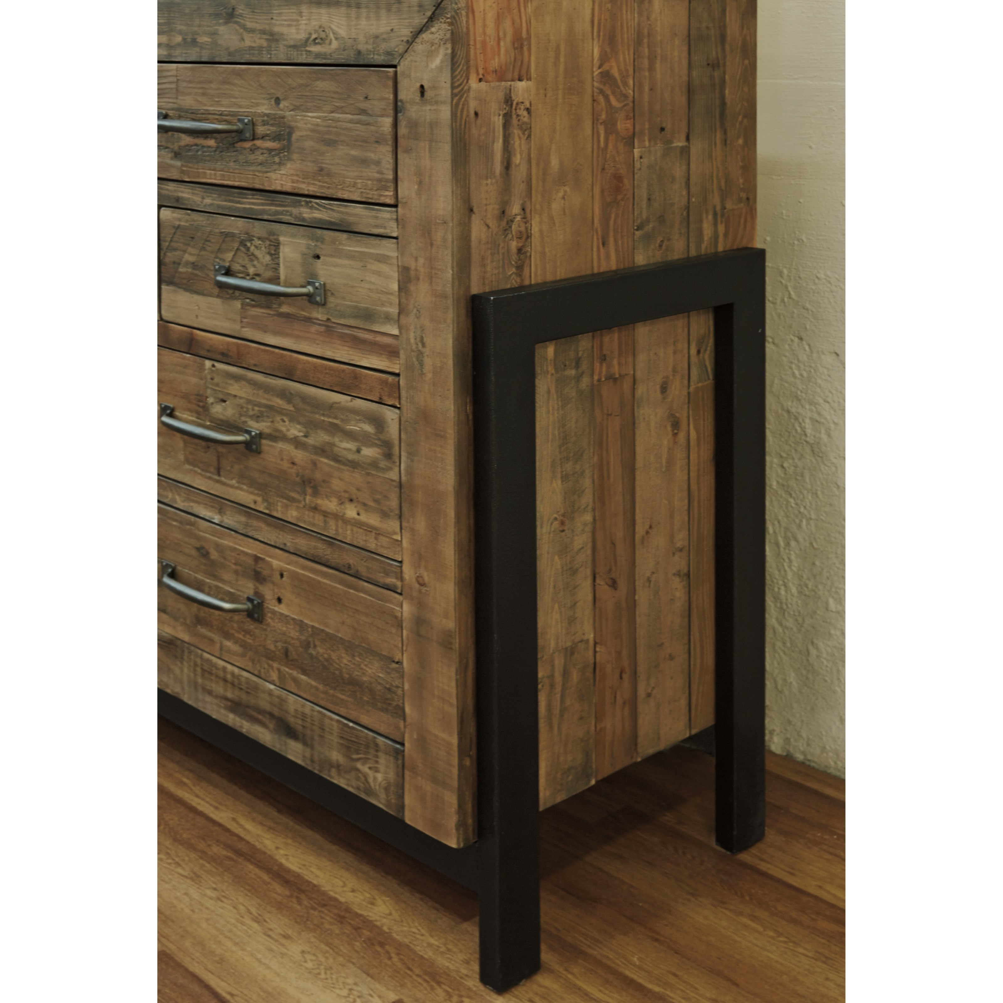 Signature Design By Ashley Sommerford B775 31 Reclaimed Pine Solid Wood Dresser With Metal Frame