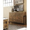 Signature Design by Ashley Sommerford Reclaimed Pine Solid Wood Dresser with Metal Frame