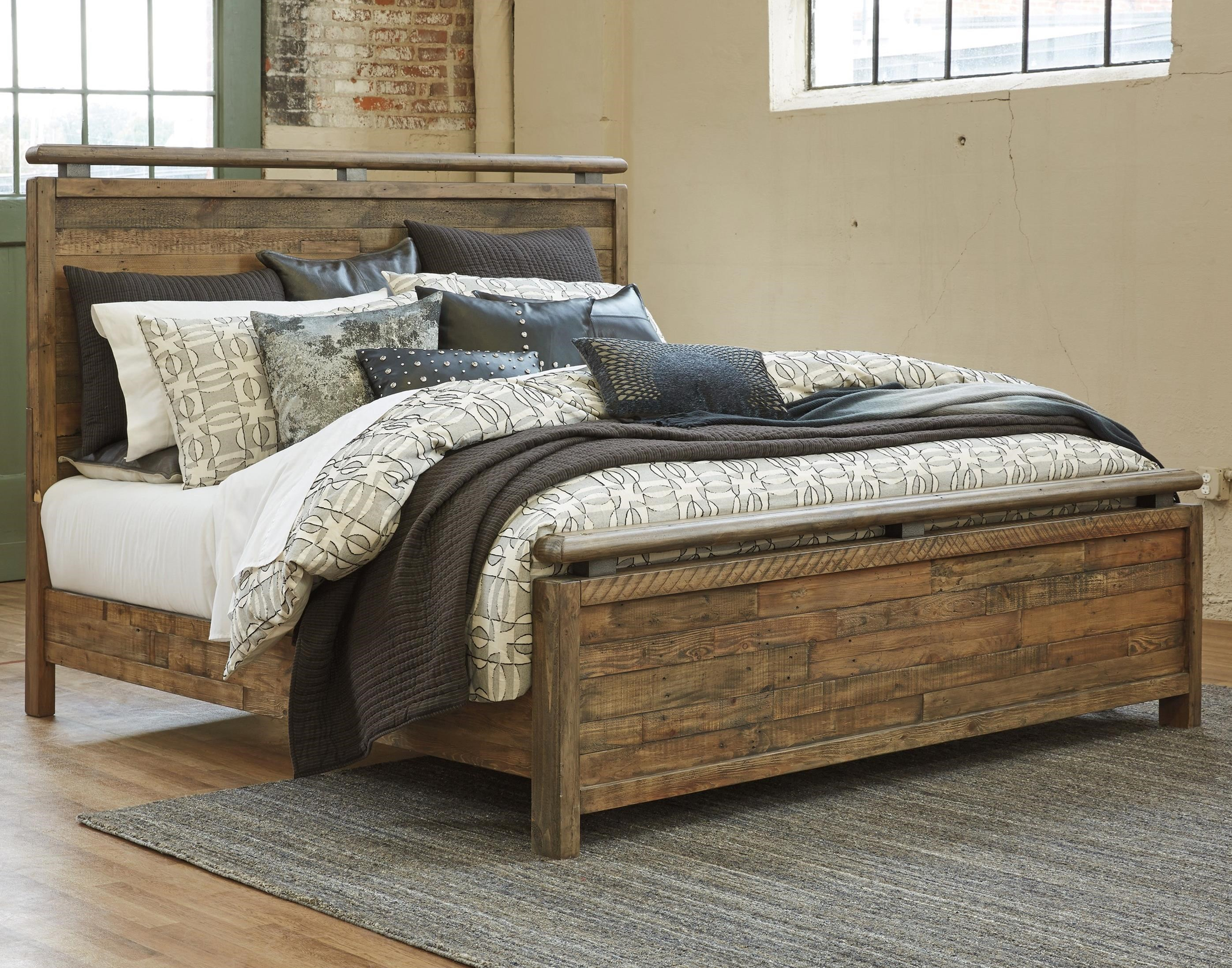 Signature Design By Ashley Sommerford California King Panel Bed Made With Reclaimed Pine Solid
