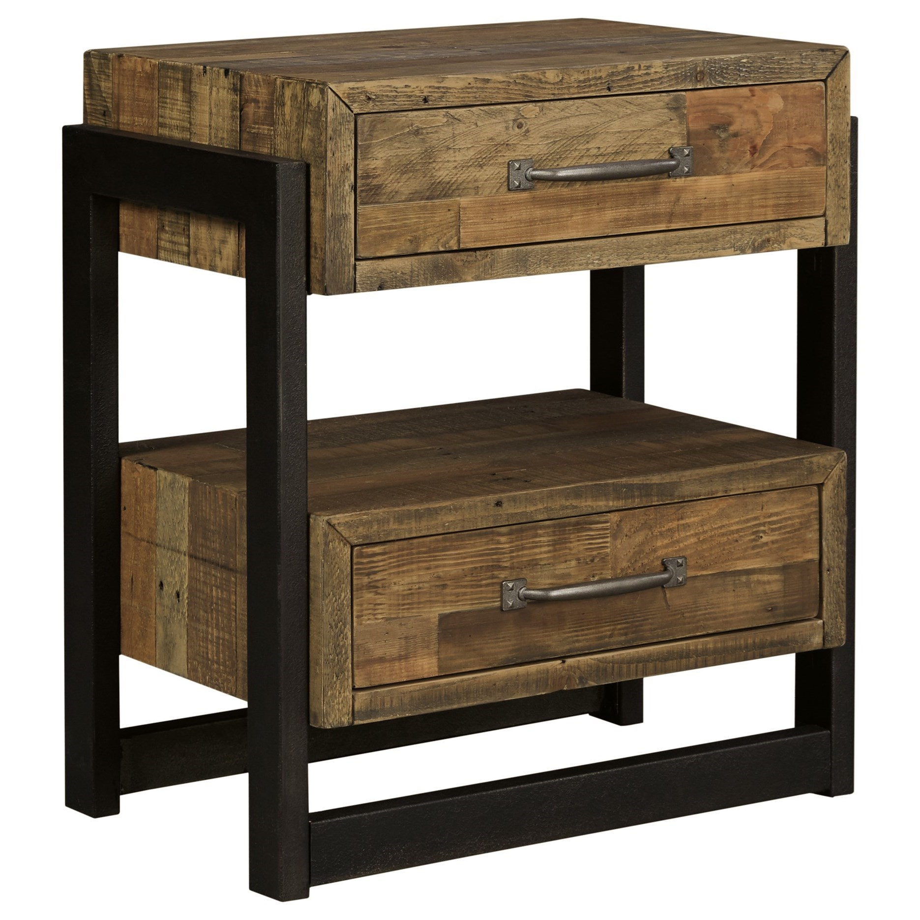 Signature Design By Ashley Sommerford B775 92 Reclaimed Pine Solid Wood Two Drawer Night Stand