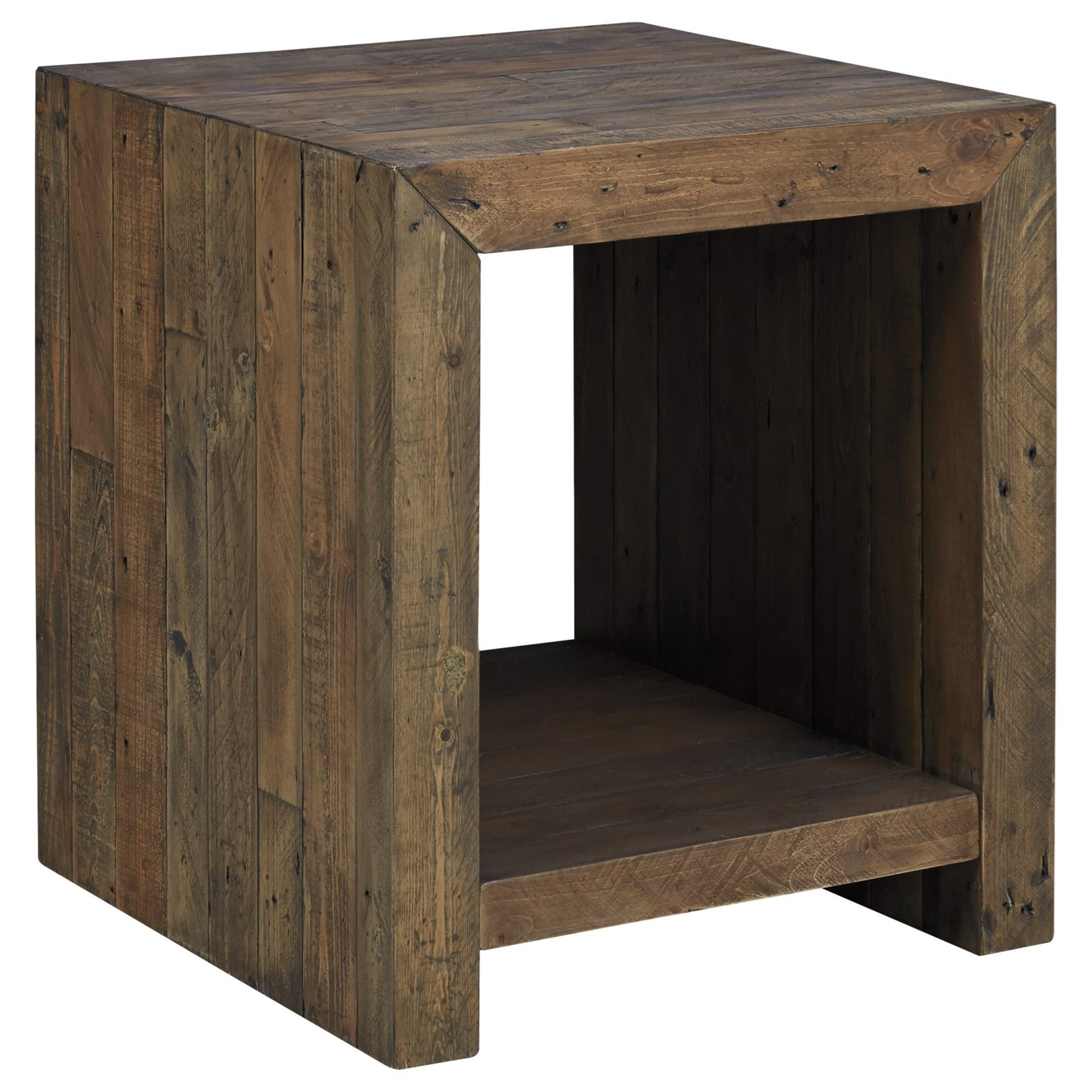 Signature Design By Ashley Sommerford T975 3 Reclaimed Pine Rectangular End Table Furniture