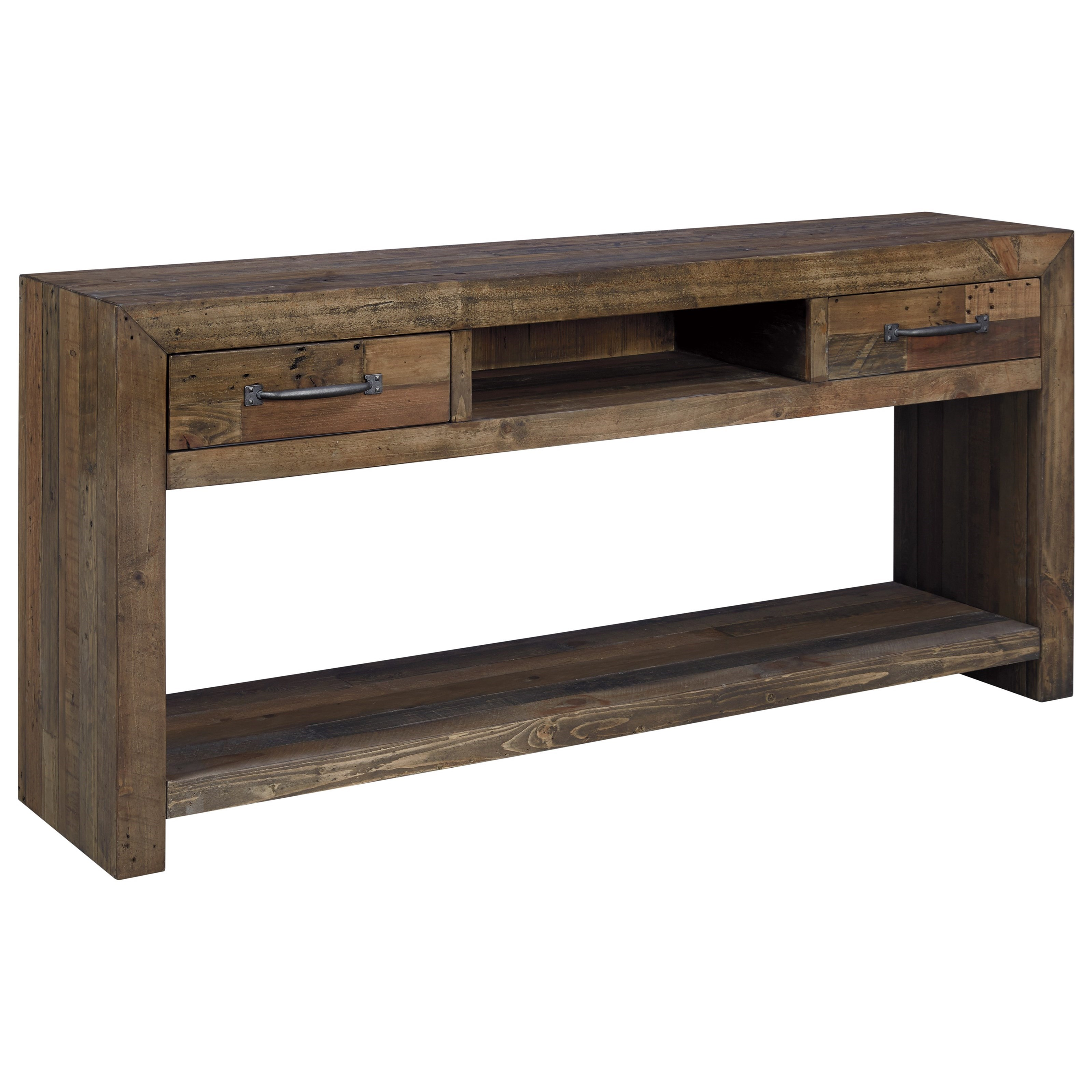 Ashley Signature Design Sommerford T975 4 Reclaimed Pine Sofa Table Dunk Bright Furniture