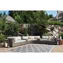 Signature Design by Ashley Spring Dew 7 Piece Outdoor Sectional Set - Item Number: P453-851+846+877+2x853