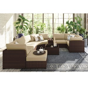 Signature Design by Ashley Spring Ridge 9 Piece Outdoor Set