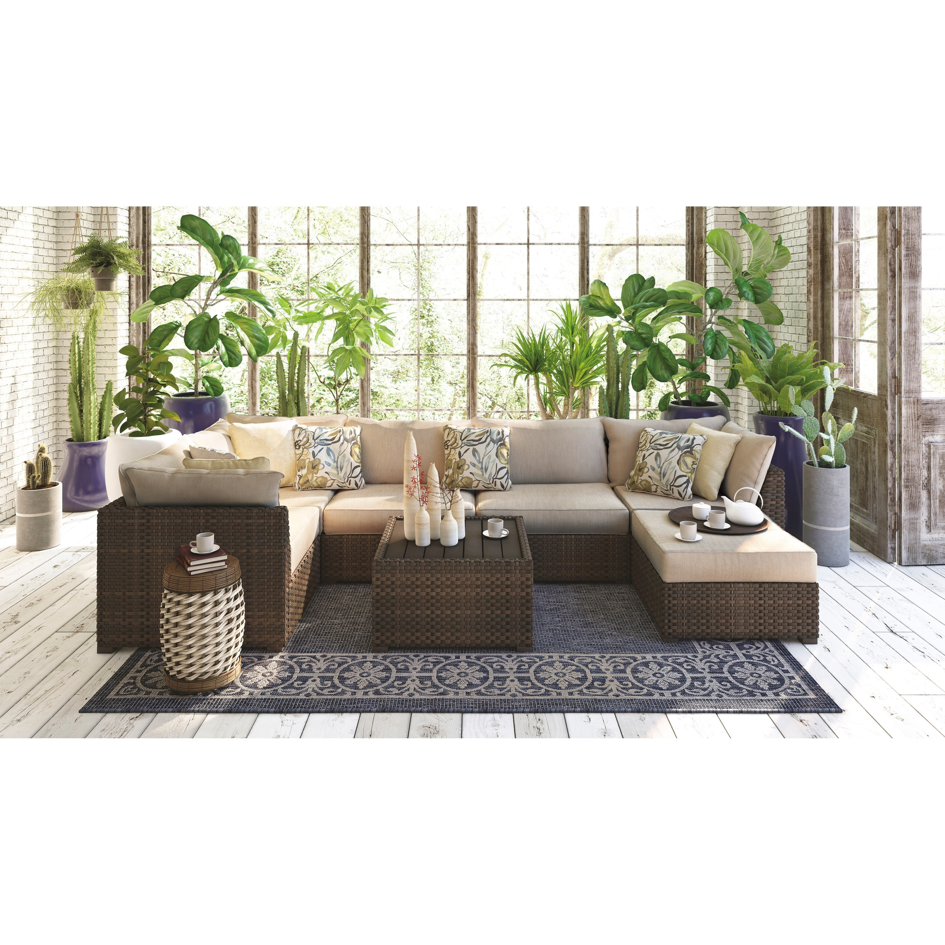 Signature Design by Ashley Spring Ridge 7 Piece Outdoor Set - Item Number: P452-077+846+877