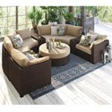 Signature Design by Ashley Spring Ridge 8 Piece Outdoor Set - Item Number: P452-814+877+3x853+2x851