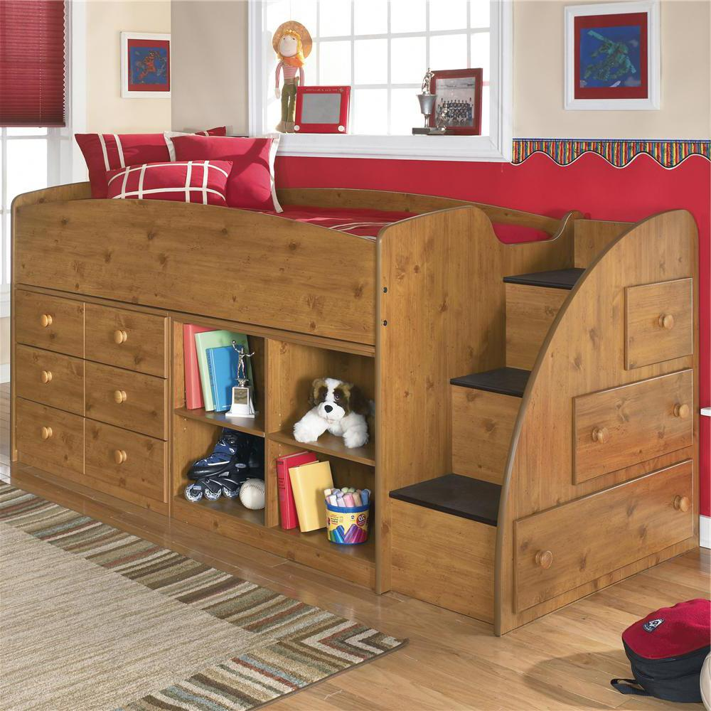 Stages Twin Loft Bed With Right Storage Steps, Bookcase U0026 Chest By  Signature Design By Ashley