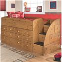 Signature Design by Ashley Stages Twin Loft Bed with Chest Storage - Item Number: B233-68T+2x19+13R