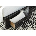Signature Design by Ashley Starberry Black Finish Glam Queen Storage Bed with 2 Drawers & Glitter Accent Panel