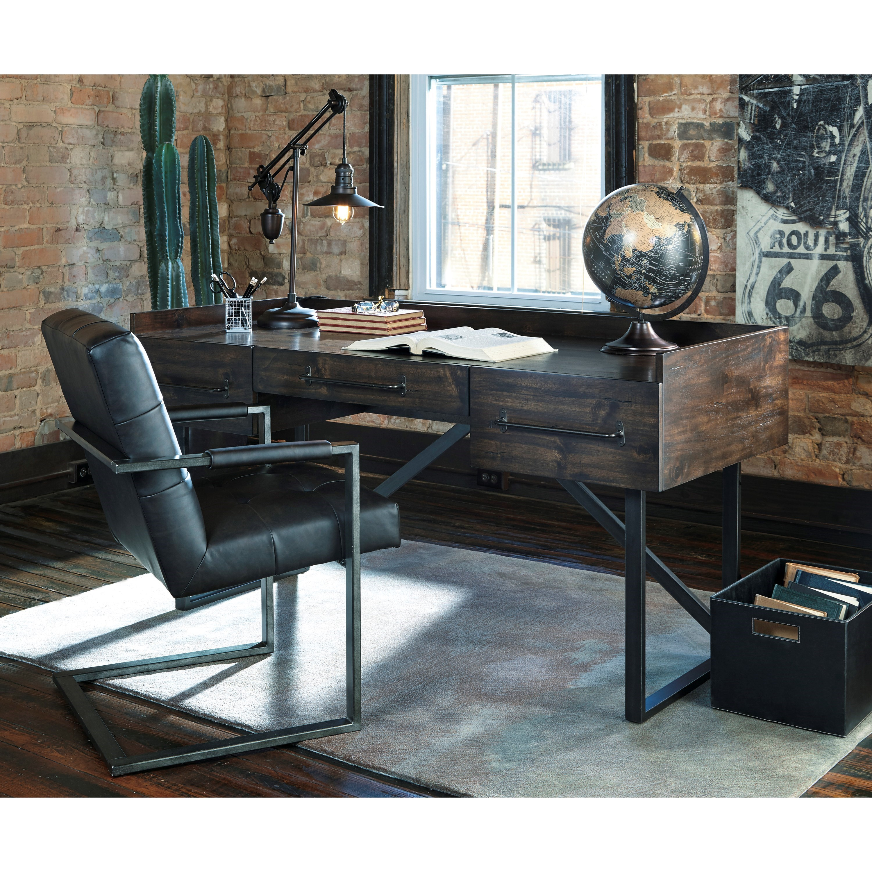 Ashley Signature Design Starmore Modern Rustic Industrial Home Office Desk With Steel Base
