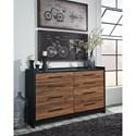 Signature Design by Ashley Stavani Modern Rustic Black/Cherry Finish Dresser