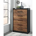 Signature Design by Ashley Stavani Modern Rustic Black/Cherry Finish Five Drawer Chest