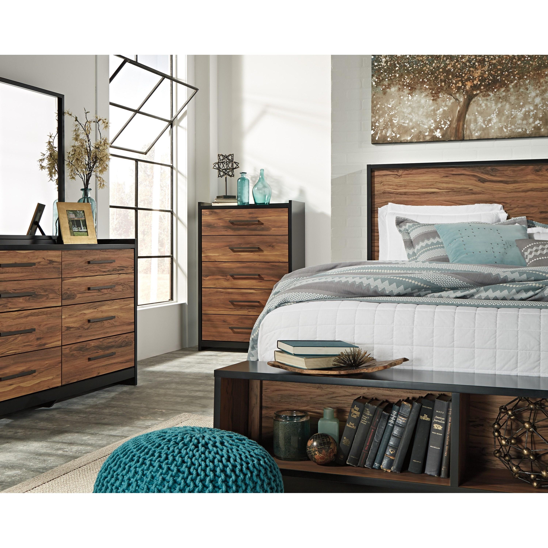Signature design by ashley stavani queen platform bed w storage bench footboard royal - Ashley furniture platform beds ...