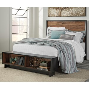 Signature Design by Ashley Stavani Queen Platform Bed w/ Bench Footboard