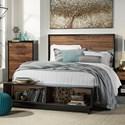 Signature Design by Ashley Stavani King Platform Bed w/ Bench Footboard - Item Number: B457-58+56S+95+B100-14