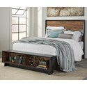 Signature Design by Ashley Stavani Queen Platform Bed w/ Bench Footboard - Item Number: B457-57+54S+95+B100-13