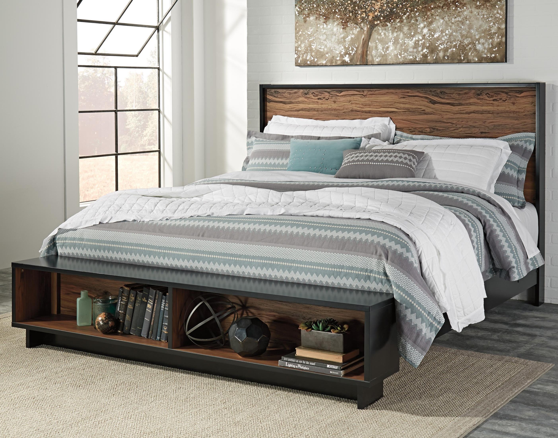 Ashley signature design stavani king platform bed w storage bench footboard dunk bright - Ashley furniture platform beds ...