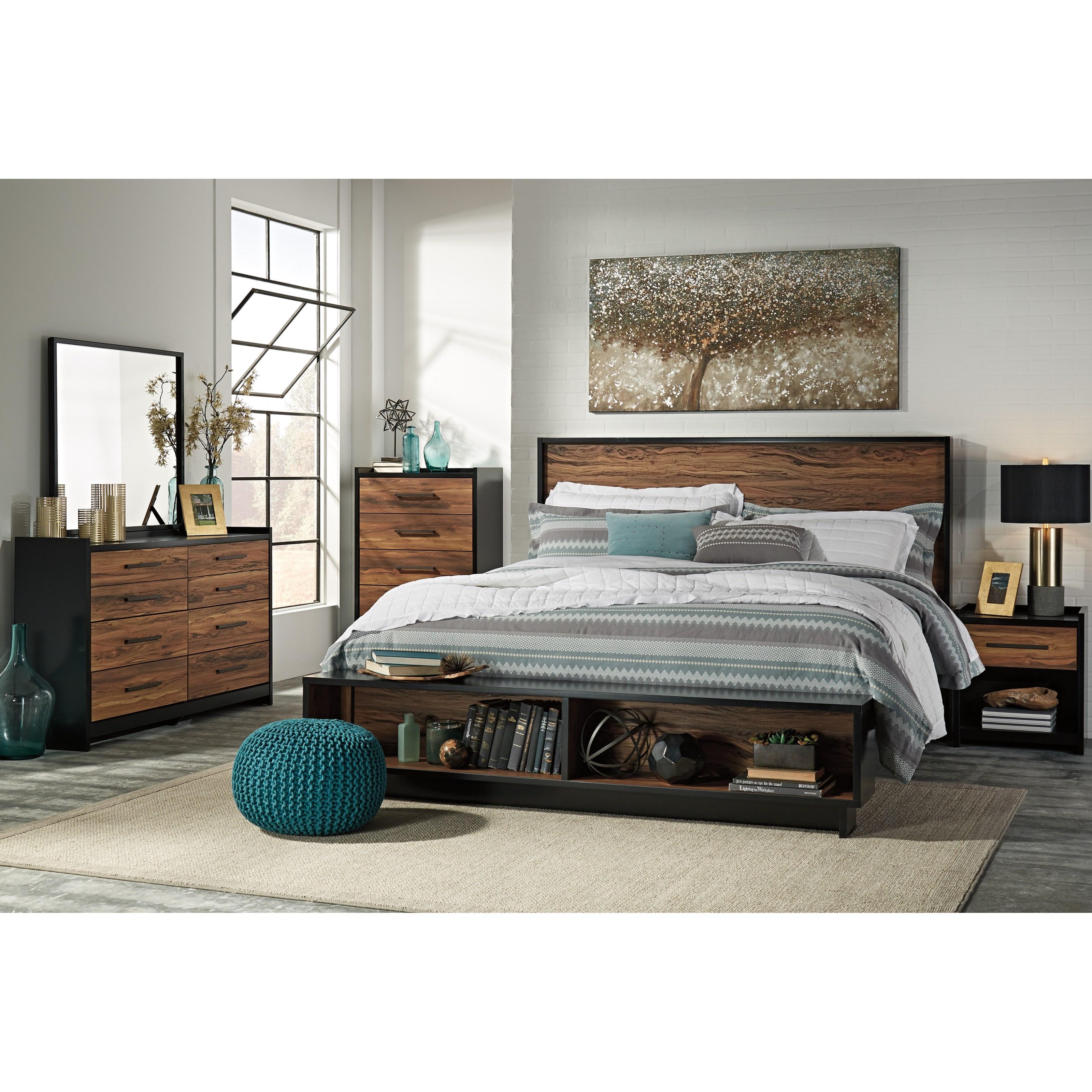 Signature Design By Ashley Stavani King Platform Bed W Storage Bench Footboard Olinde 39 S