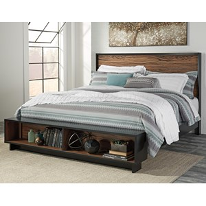 Signature Design by Ashley Stavani King Platform Bed w/ Bench Footboard