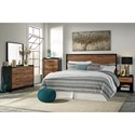 Signature Design by Ashley Stavani Modern Rustic King/Cal King Panel Headboard with Black/Cherry Finish