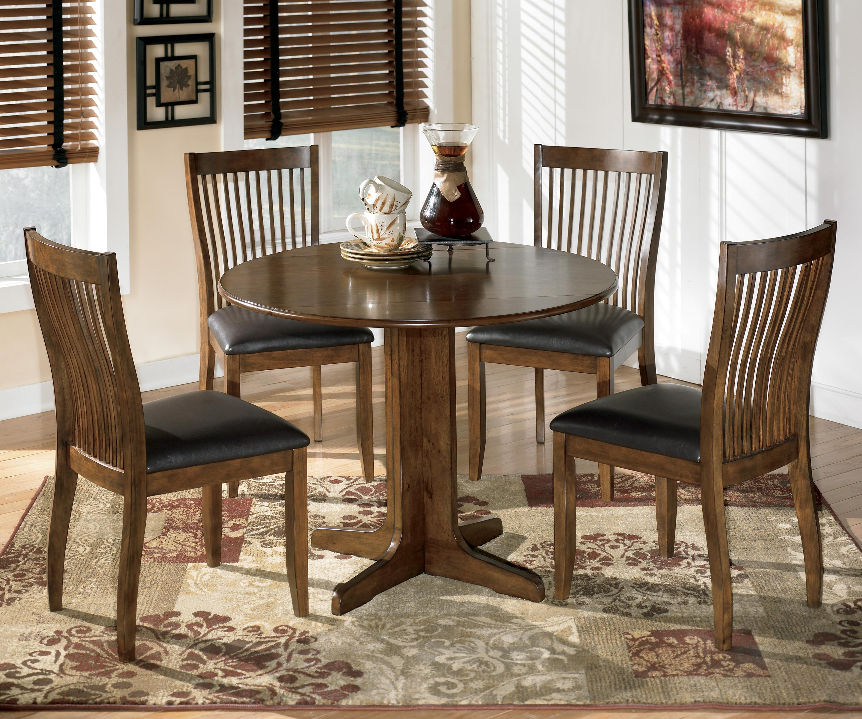 Round Dining Set With Leaf: Signature Design By Ashley Stuman 5-Piece Round Drop Leaf