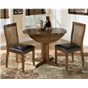 Signature Design by Ashley Stuman Round Drop Leaf Table - Table Shown with 2 Chairs