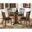 Signature Design by Ashley Stuman Round Drop Leaf Table - Table Shown with 4 Chairs