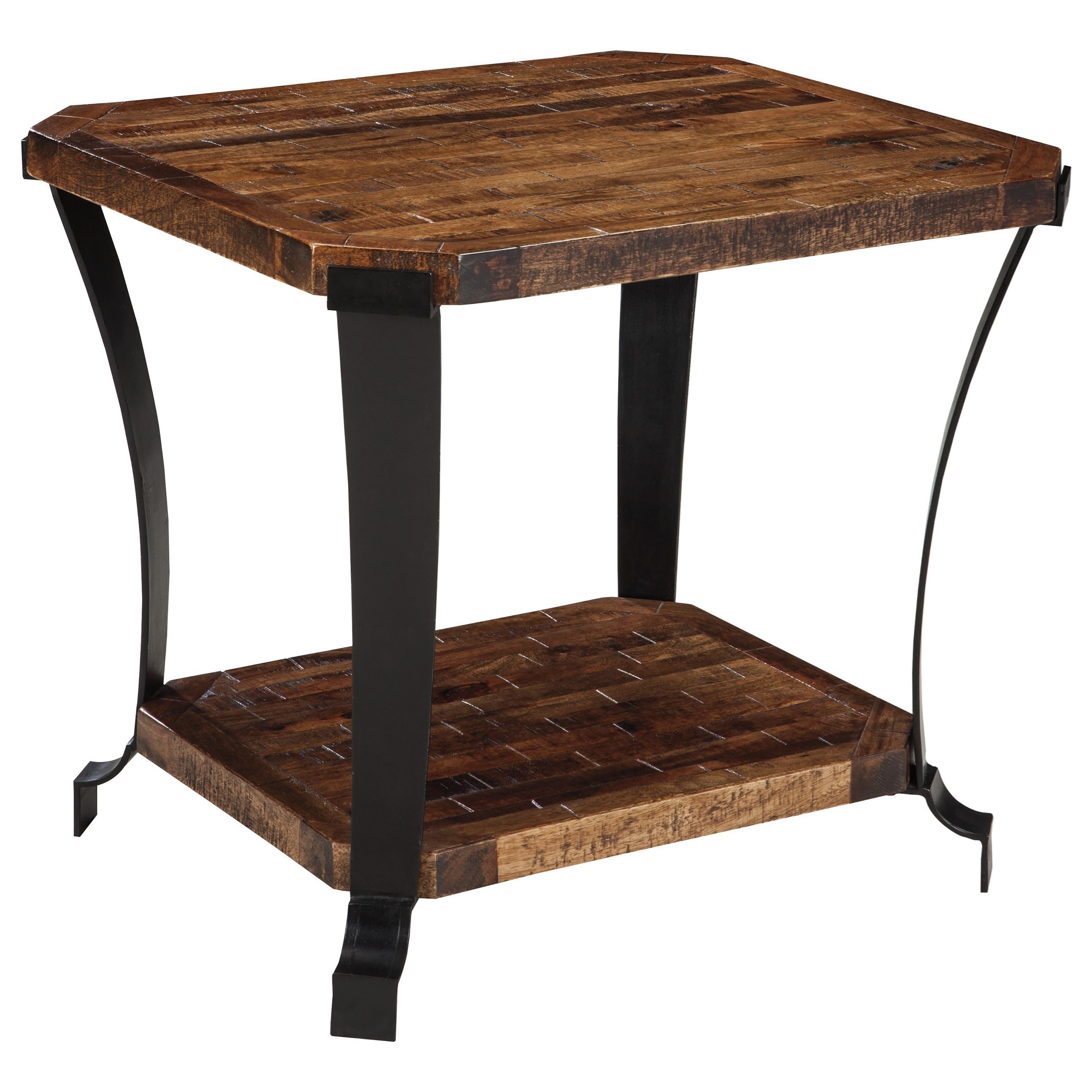 Signature Design By Ashley Taddenfeld Solid Wood And Metal Rectangular End Table Value City