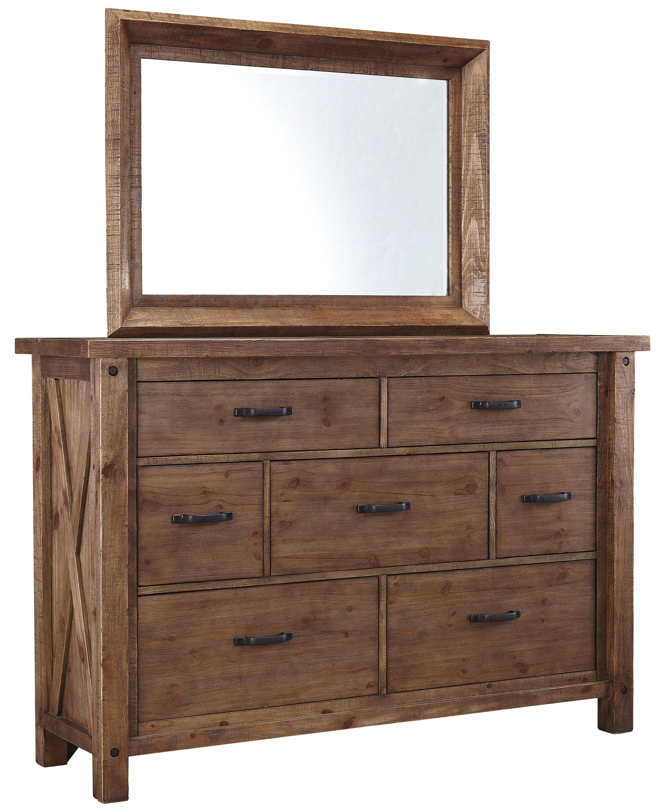 Signature Design by Ashley Tamilo 7 Drawer Dresser and Mirror - Item Number: B714-31+36