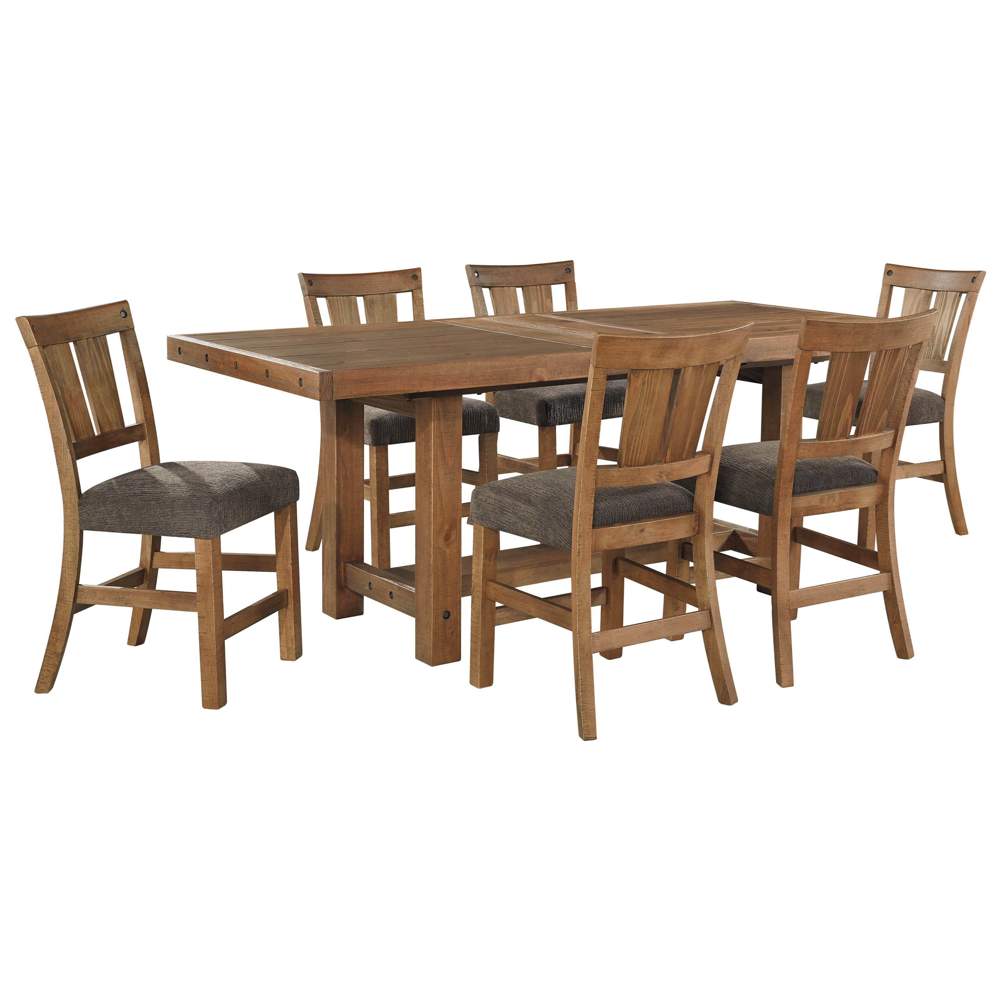 Signature Design by Ashley Tamilo 7 Piece Counter Extension Table Set - Item Number: D714-32+6x124